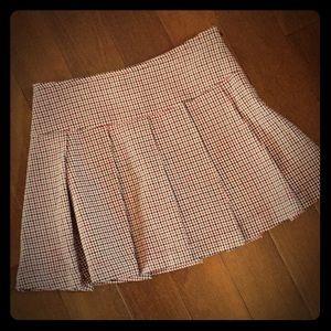 Burgundy, Black, White Pleated Houndstooth Skirt